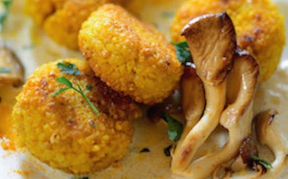 Goldhirse-Küchlein mit Austernpilzrahm
